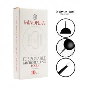 MIAOPERA DISPOSABLE MICROBLADING TOOLS 10PCS - 0,30MM R05 STRAIGHT